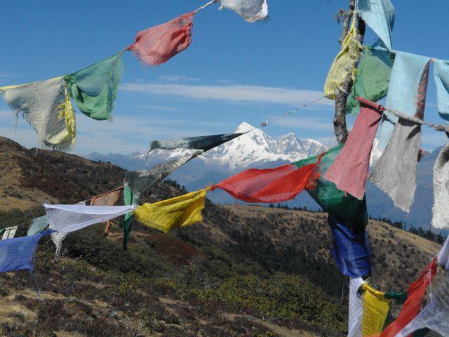 View of Jumolhari through prayer flags